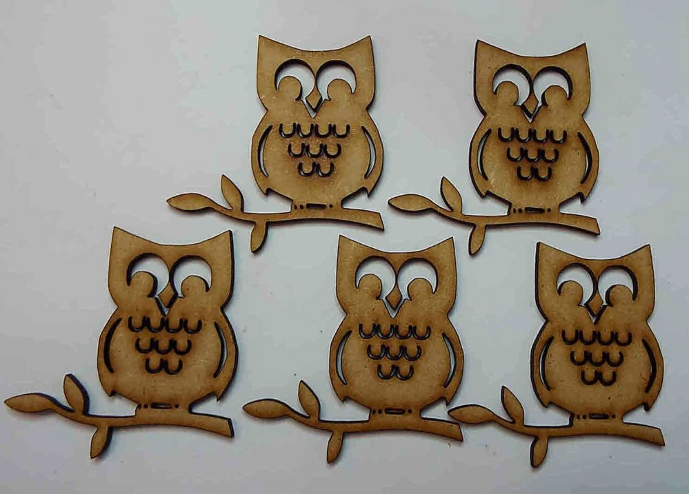 wooden craft OWL shapes laser cut 3mm mdf embellishment decoupage